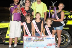 Eagle   08-30-14 442   Clint Luellen with  2013 Miss Nebraska Cup Elle Potocka  along with 2014 Mini Miss Nebraska Cup finailist and flagman Billy Lloyd    JoeOrthPhoto