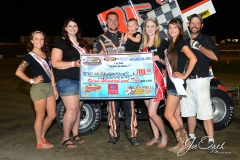 Eagle-07-11-15-500-Trevor-Grossenbacher-with-2015-Miss-Nebraska-Cup-Jen-Harter-with-2015-Miss-Eagle-Raceway-finalist-Kayla-Meidinger-Zoe-Dalton-Robyn-Burnison-with-flagman-Billy-Lloyd-JoeOrthPhotos