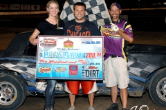 Eagle   07-26-14 466   Mark McKinney with  Miss Nebraska Cup Finalist Jen Harter and flagman Billy Lloyd   JoeOrthPhotos