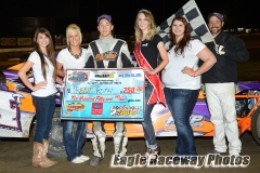 Eagle   05-08-15 436   Trent Roth and Miss Ne Cup Jen Harder and Miss Eagle Raceway finalist Zoe Dalton Sidney Brummer Robyn Burnison with flagman Billy Lloyd   JoeOrthPhotos.JPG