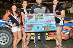 Eagle   09-05-15   IMCA Nationals 595    Mark MC Kinney with 2015 Miss Eagle Raceway finalist Kayla Meidinger Zoe Dalton Robin Brunison    JoeorthPhotos.JPG