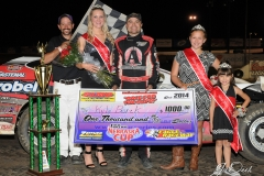 Eagle   09-07-14 526   Kyle Berck with  2014 Miss Nebraska Cup Jen Harder along with 2014 Mini Miss Nebraska Cup Ellen Jesina and Kaylyn Harrill and flagman Billy Lloyd   JoeOrthPhoto